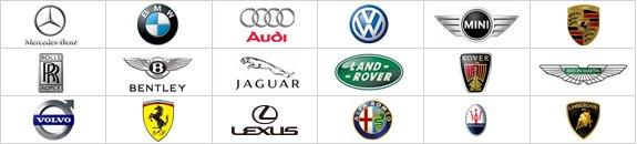 メルセデス・ベンツ、BMW、アウディ、フォルクスワーゲンなどの輸入車メーカーのロゴ